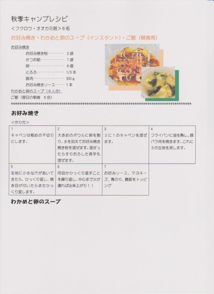 秋季キャンプレシピ2
